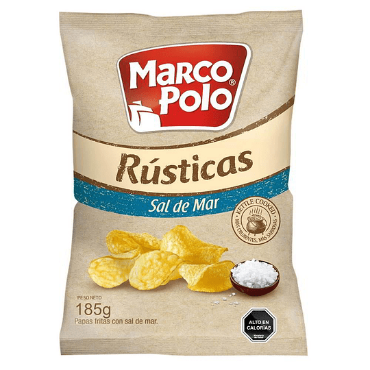 PAPAS FRITAS RUSTICAS SAL DE MAR MP 185 GR