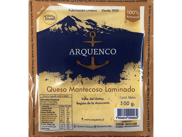 QUESO MANTECOSO LAMINADO ARQUENCO 500 GR