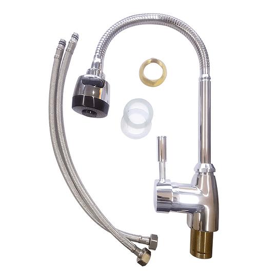 Llave de griferia flexible 360 ° Monomando Lava platos Agua Fría y Caliente