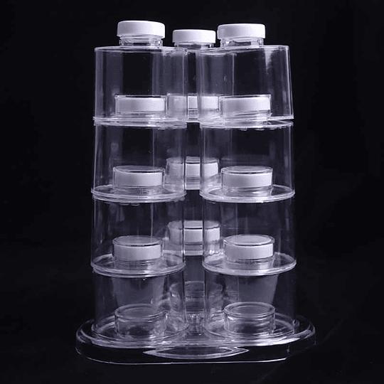 Torre de especias giratorio moderno de acrílico transparente Juego de 12