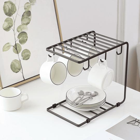 Estante Para Platos Organizador Té De Vidrio 6 Ganchos Para Taza De Café