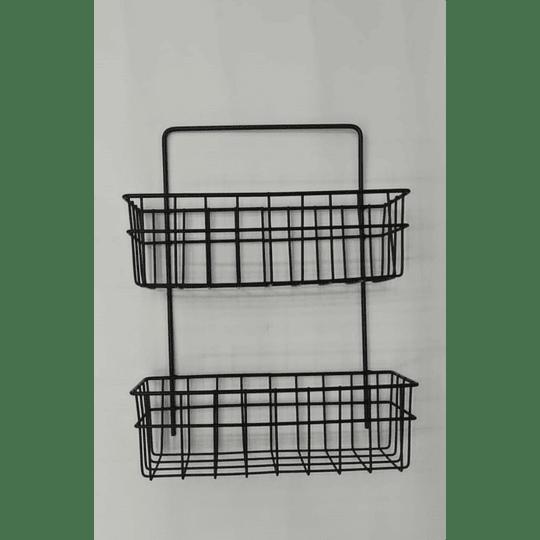 Cesta De Almacenamiento Colgante de metal de 2 niveles para montaje en pared