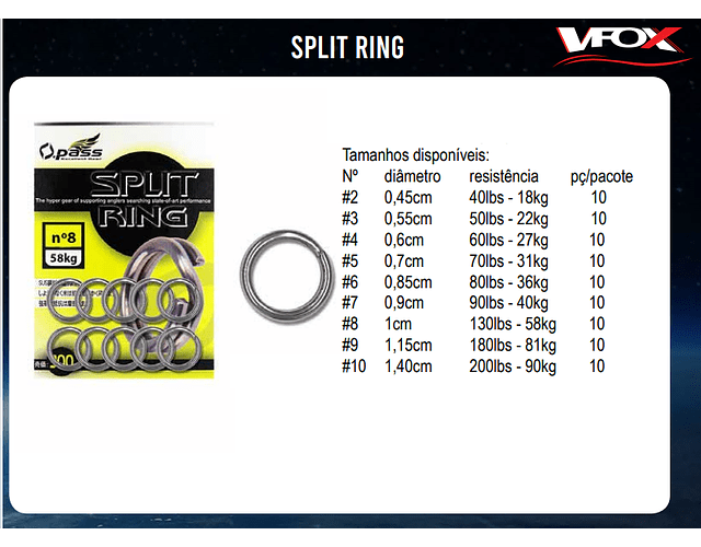 Argola para isca artificial Split Ring O.Pass - VFox