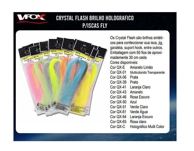 Crystal Flash Brilho Holográfico para Iscas de Fly - VFox