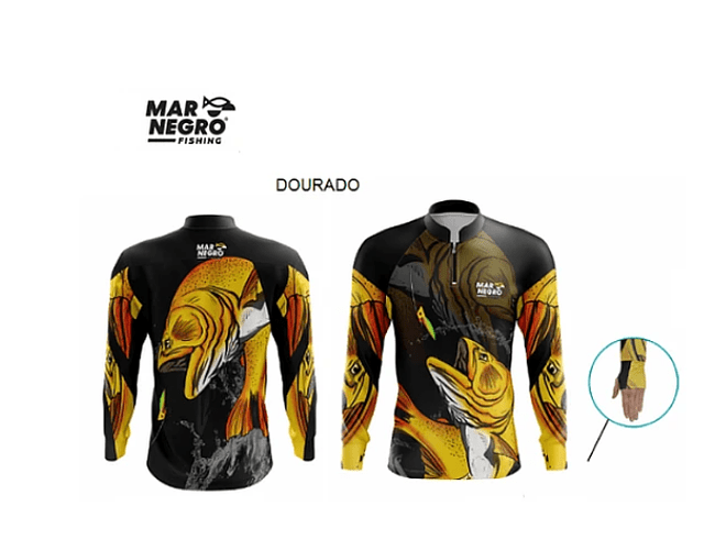 Camiseta Mar Negro Masculina Com Luvinha - M