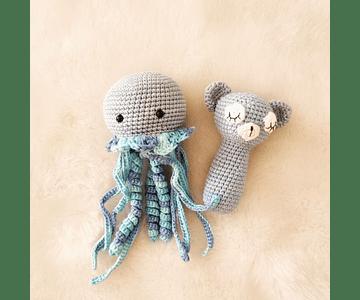 Set de Medusa + Sonajero Gris/Azul