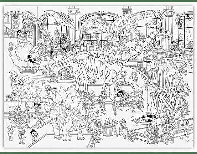 Giant Coloring Poster - Día en el Museo de Dinosaurios
