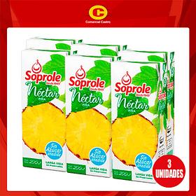 Néctar piña Soprole bombillin pack 6 unds.