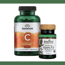 Vitamina C (90 unidades) y D3 Swanson (60 unidades)