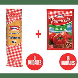 Tallarines Carozzi (x9) + Salsa Pomarola (x18)