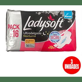 Toalla higiénica Ladysoft ultradelgada nocturna con alas pack 16 (3 unidades)