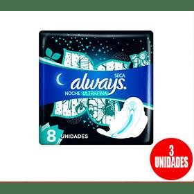 Toalla higiénica Always ultrafina nocturna  pack 8 (3 unidades)
