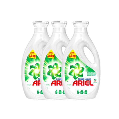 Pack 3 Botellas Detergente Ariel Power Liquid 1,9 Lt