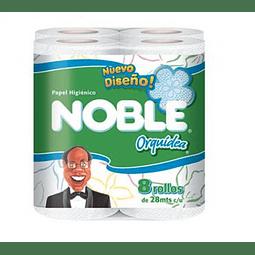Papel Higienico Noble Orquidea 8 Rollos (3 Unidades)