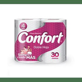 Papel Higiénico Confort Doble Hoja 4 Rollos 30mts (3 Unidades)