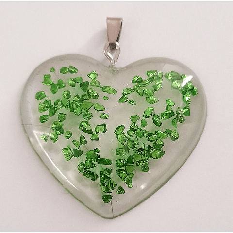 Corazón resina piedras metalizadas