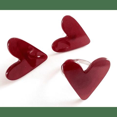 Conjunto corazones rojos