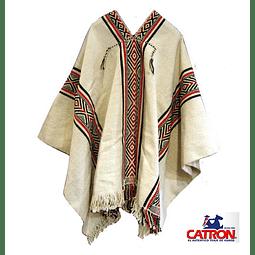 Poncho Mapuche Blanco Diseño Antiguo