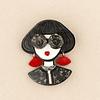Prendedor Mujer Aros Rojos