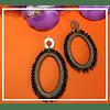 Aros oval con cristales negros