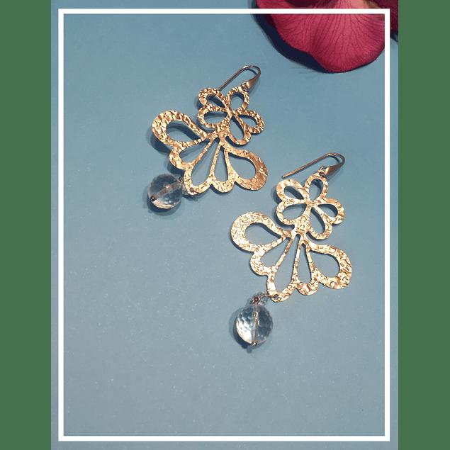 Aros de plata mariposa con cristal