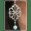 Aros de plata flor con perla celeste
