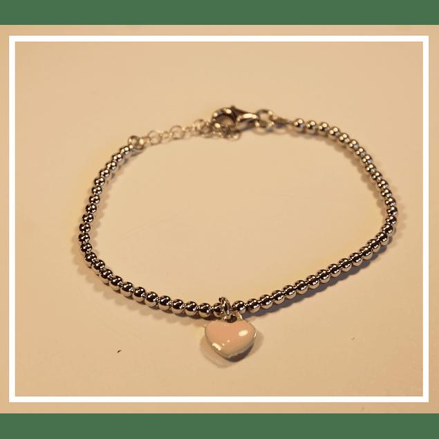 Pulsera de plata corazon rosado