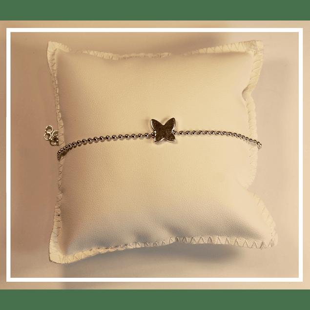 Pulsera plata mariposa