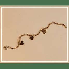 Pulsera plata 3 corazones con baño de oro 18k