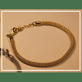 Pulsera en plata tejida con bano oro 18k