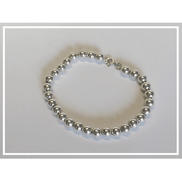 Pulsera de plata mostacillas redondas- chicas