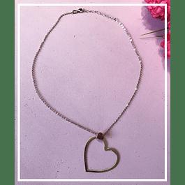 Collar plata corazon doble