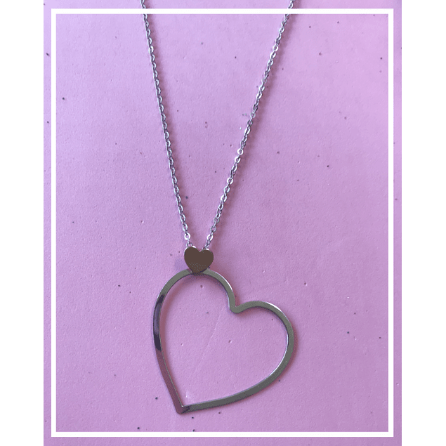 Collar plata corazon doble