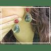 Aros  Facetados Rojo Vino / Verde