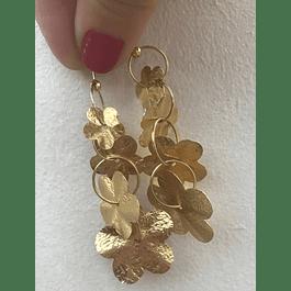 Aros de plata Flor con baño oro 18k