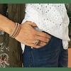 Anillo plata italiana Pietra Rosado con baño oro rosado