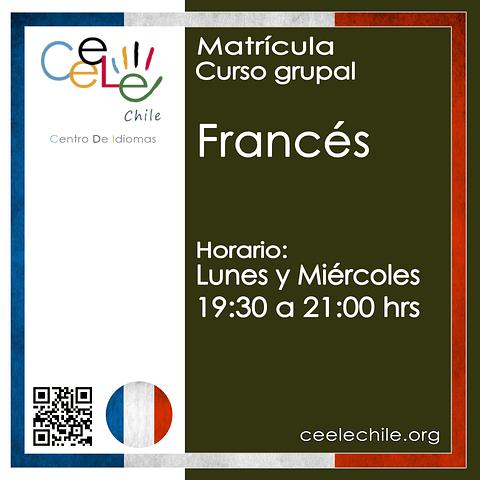 Matricula curso grupal Francés LUNES y MIERCOLES de 19:30 A 21:00 hrs.