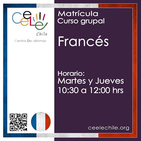 Matricula curso grupal Francés MARTES y JUEVES de 10:30 A 12:00 hrs.