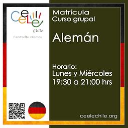 Matricula curso grupal Alemán LUNES y MIERCOLES de 19:30 A 21:00 hrs.
