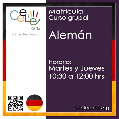 Matricula curso grupal Alemán MARTES y JUEVES de 10:30 A 12:00 hrs.