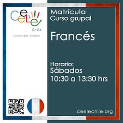 Matricula curso grupal Francés SÁBADO de 10:30 A 13:30 hrs.
