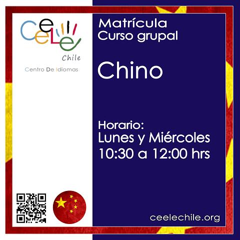 Matricula curso grupal Chino LUNES Y MIERCOLES de 10:30 A 12:00 hrs.