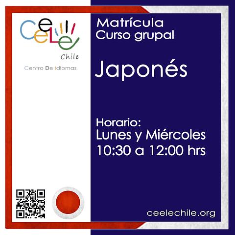 Matricula curso grupal japonés LUNES Y MIERCOLES de 10:30 A 12:00 hrs.