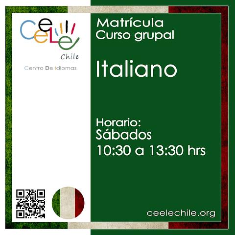 Matricula curso grupal Italiano SÁBADO de 10:30 A 13:30 hrs.