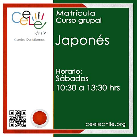 Matricula curso grupal Japonés SÁBADO de 10:30 A 13:30 hrs.