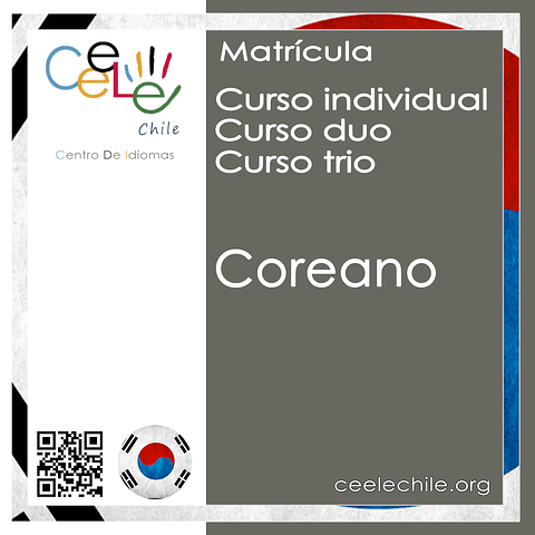 Matricula curso Individual/Duo/Trio de Coreano