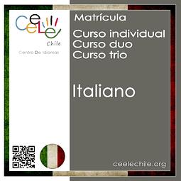 Matricula curso Individual/Duo/Trio de Italiano