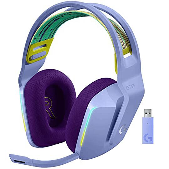 Audifonos Gamer Logitech G733 Lightspeed Wireless RGB LILA