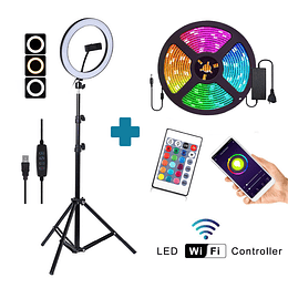 Combo Aro de Luz 10'' + Luces Led RGB wi-fi