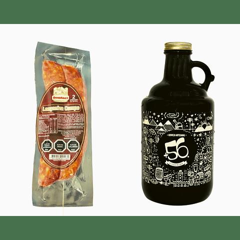 Pack Growler de 1 litro + Longanizas de Campo Parrilleras (Cecinas Omeñaca)